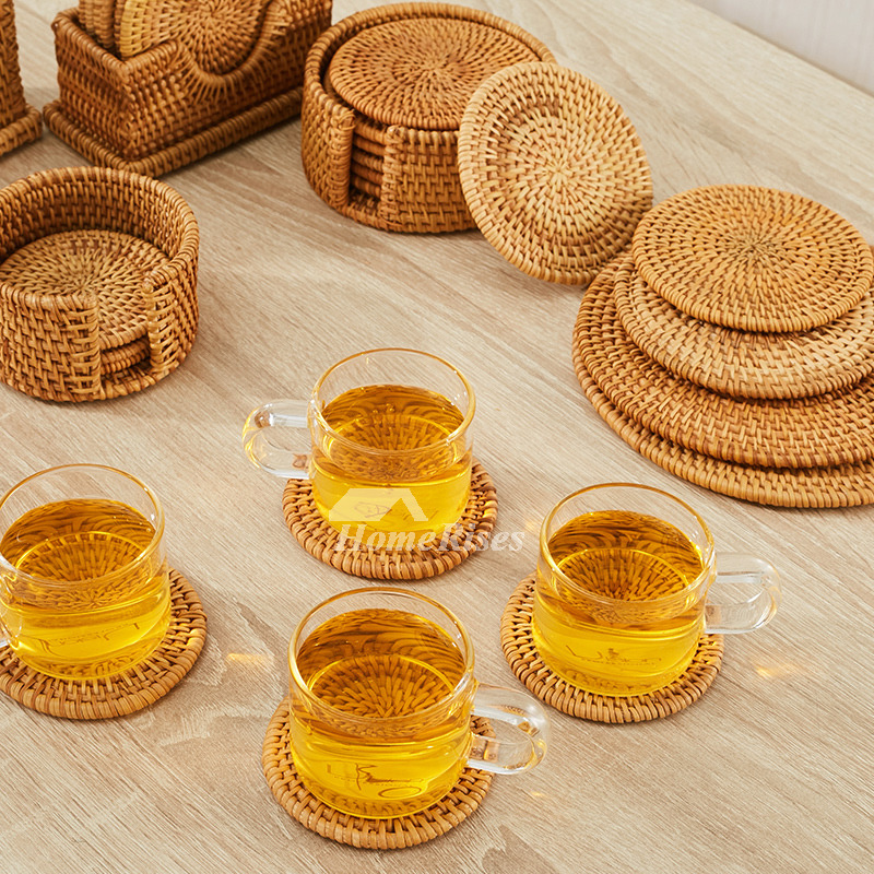 Best Round Coasters Rattan Drink Tea Rustic Best Personalized This Month