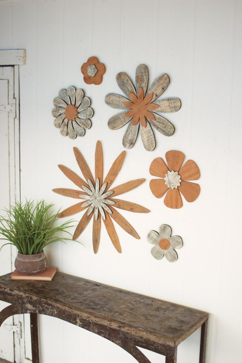 Best Set Of 6 Wooden Flower Wall Art This Month