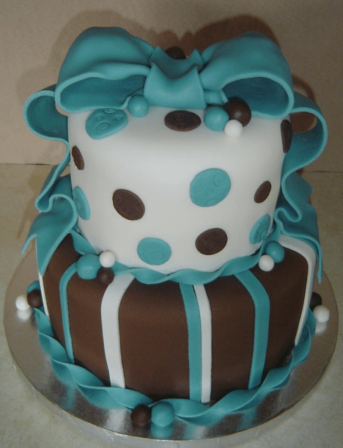 Best Aqua Brown Baby Shower Cake In Chocolate And White With This Month