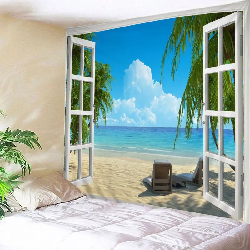 Best 2018 Window Beach View Print Tapestry Wall Hanging Art This Month