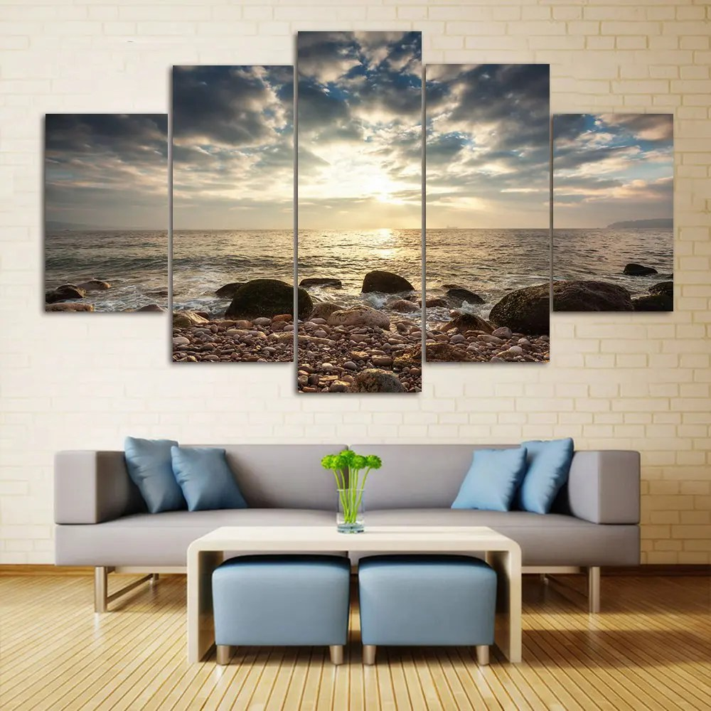 Best 2018 Sea Stone Beach Split Canvas Prints Wall Art This Month