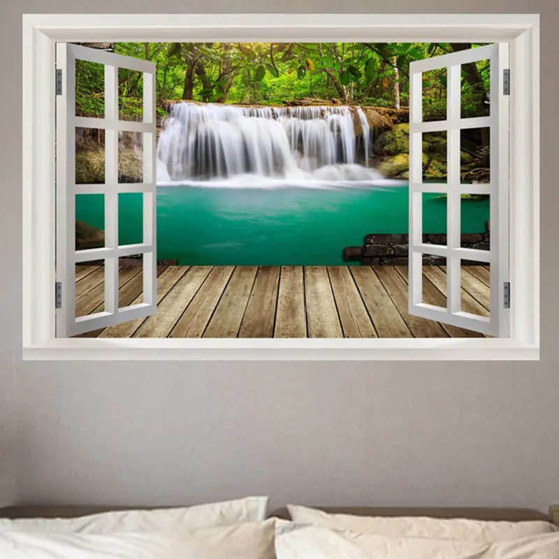 Best 2018 Nature Forest Waterfall Scenery Faux Window Frame This Month