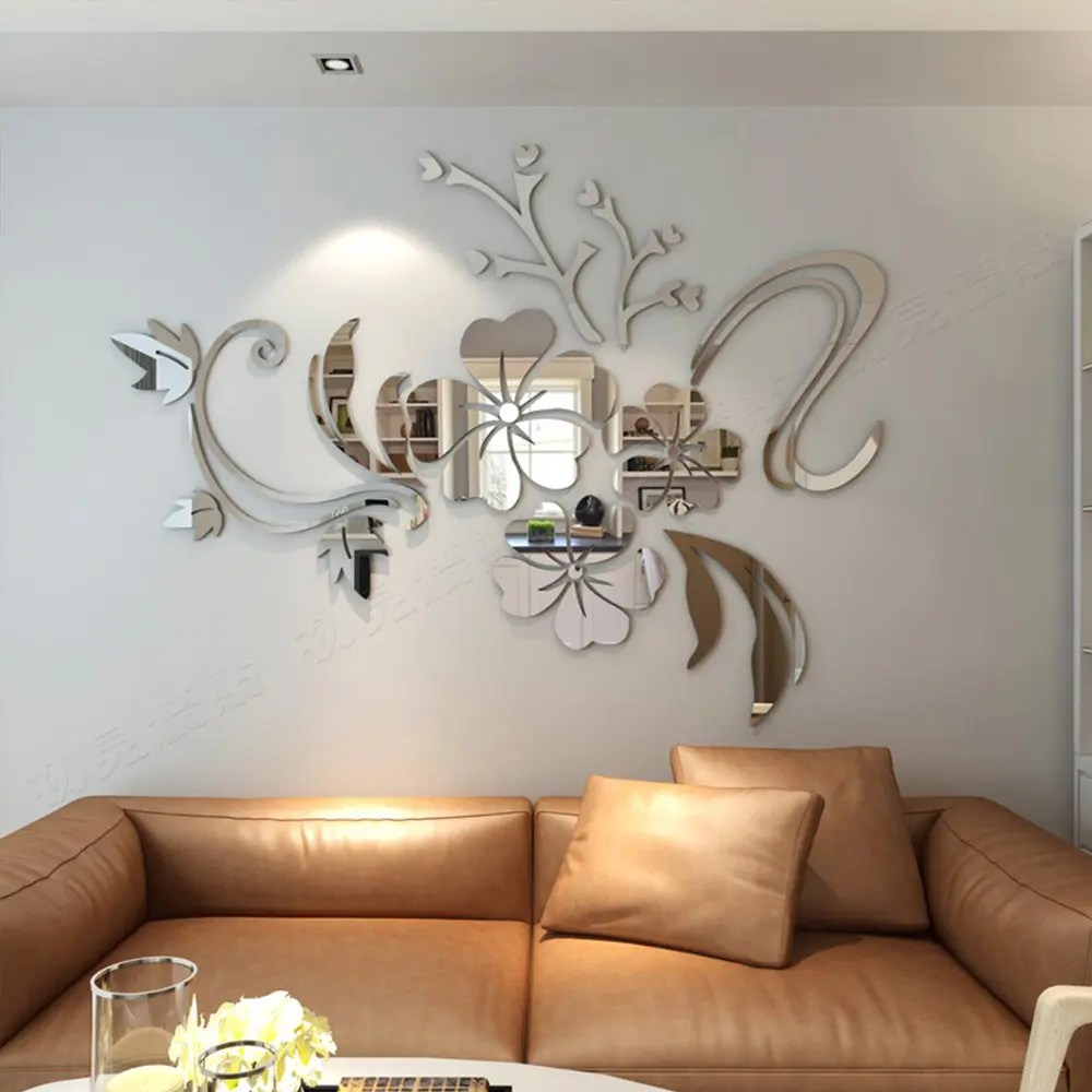 Best 2018 3D Stereo Flower Wall Mirror Wall Stickers Silver In This Month