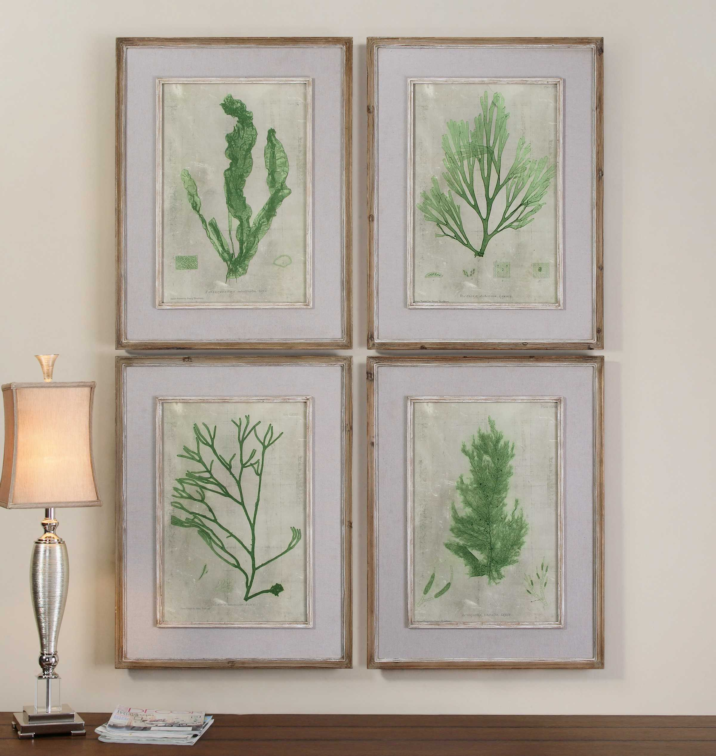 Best Uttermost Emerald Seaweed Framed Wall Art 4 Piece Set This Month