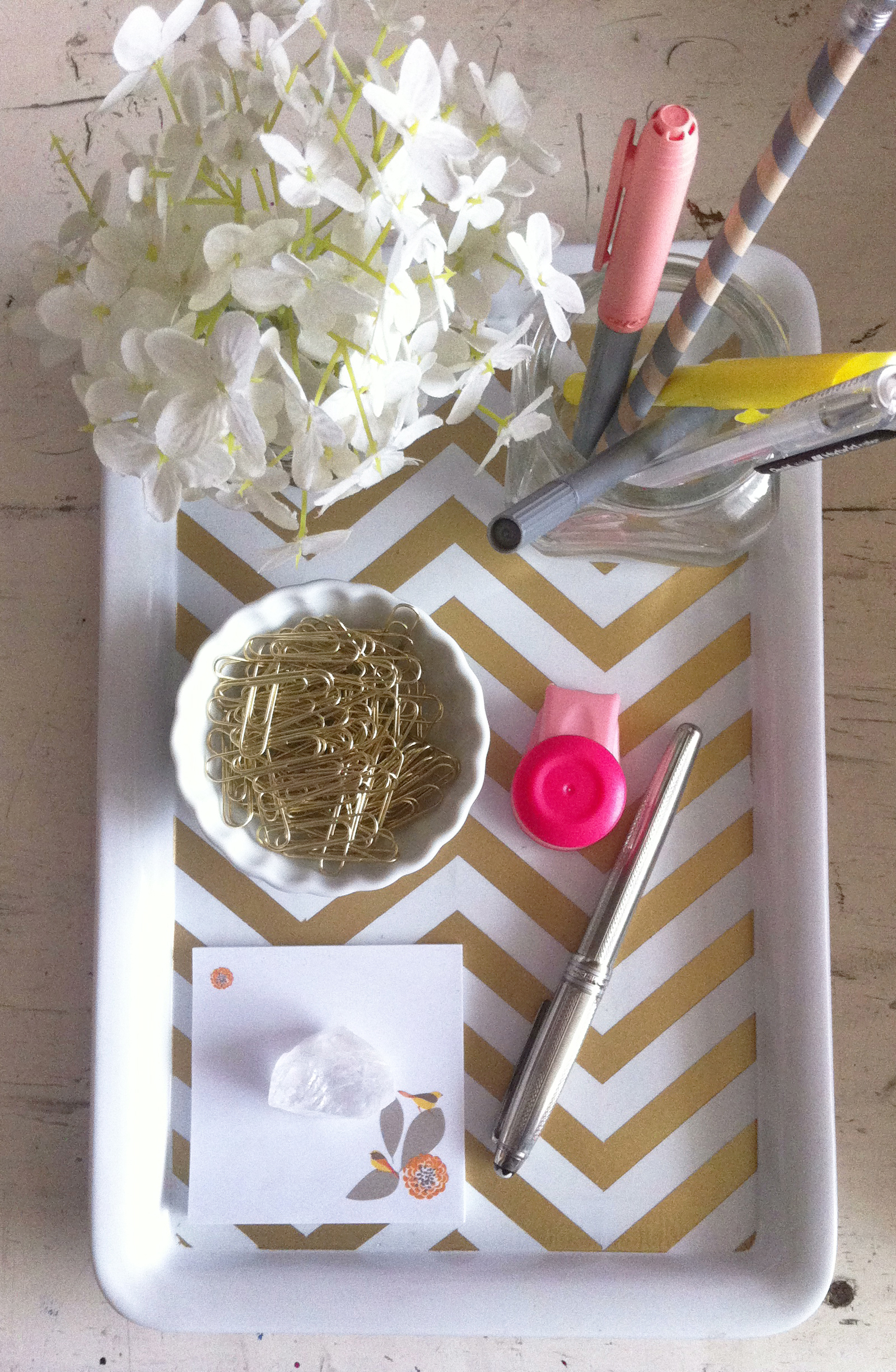 Best Diy Gold Chevron Desk Tray Kate Sp*D* Office Lovely This Month