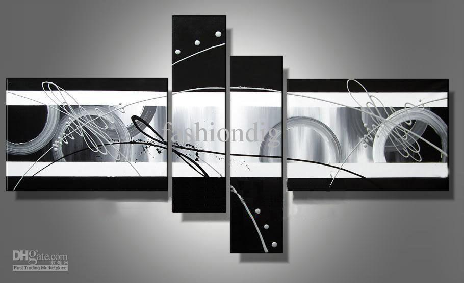 Best 2019 Stretched Abstract Oil Painting Canvas Black White This Month
