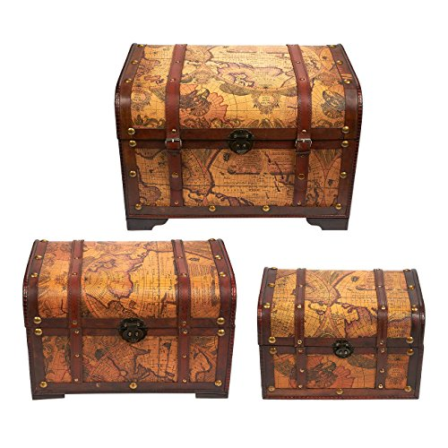 Best New Wooden Decorative Boxes Chest Trunk 3 Piece Storage This Month