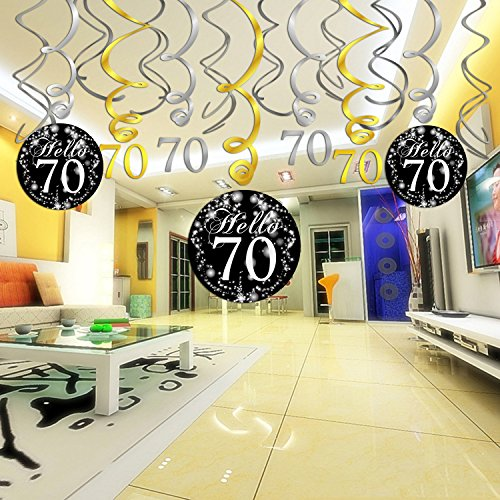 Best 70Th Birthday Decoration Hanging Swirl 15Counts Happy 70 This Month
