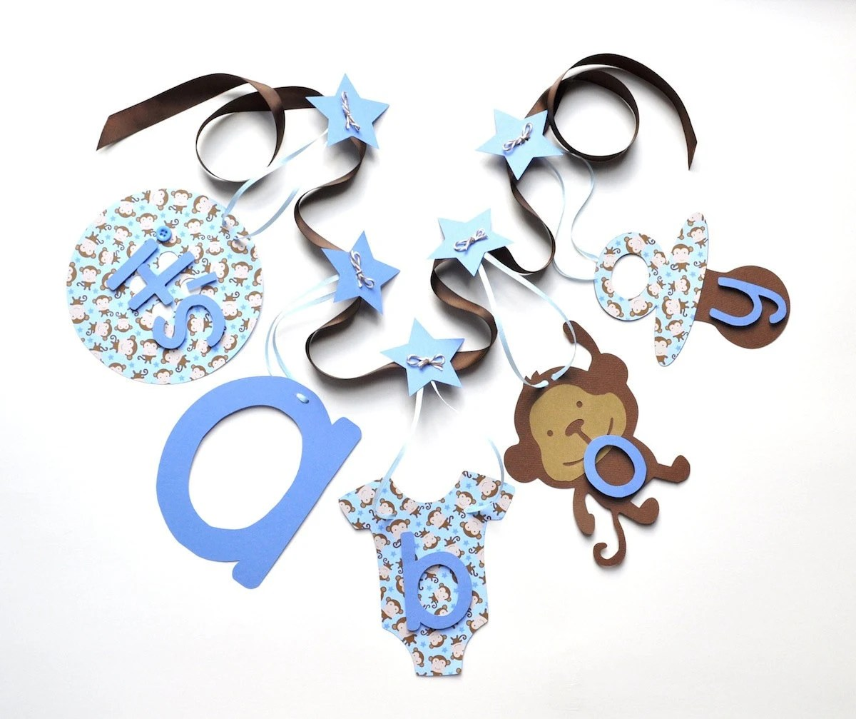 Best Monkey Baby Shower Decorations Blue And Brown It S A Boy This Month