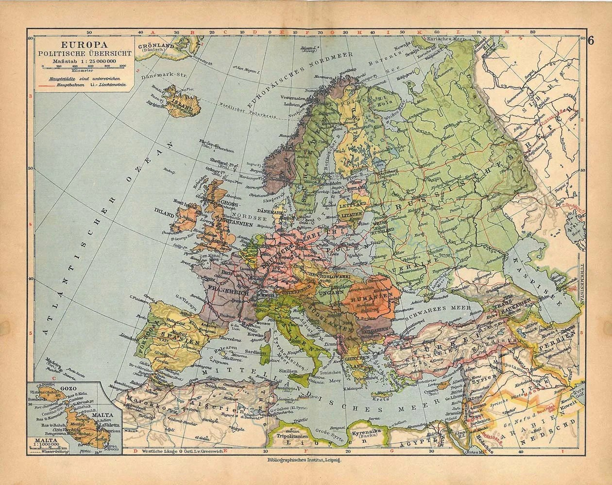 Best Reserved 1928 Europe Vintage Map Political Division Wall Decor This Month