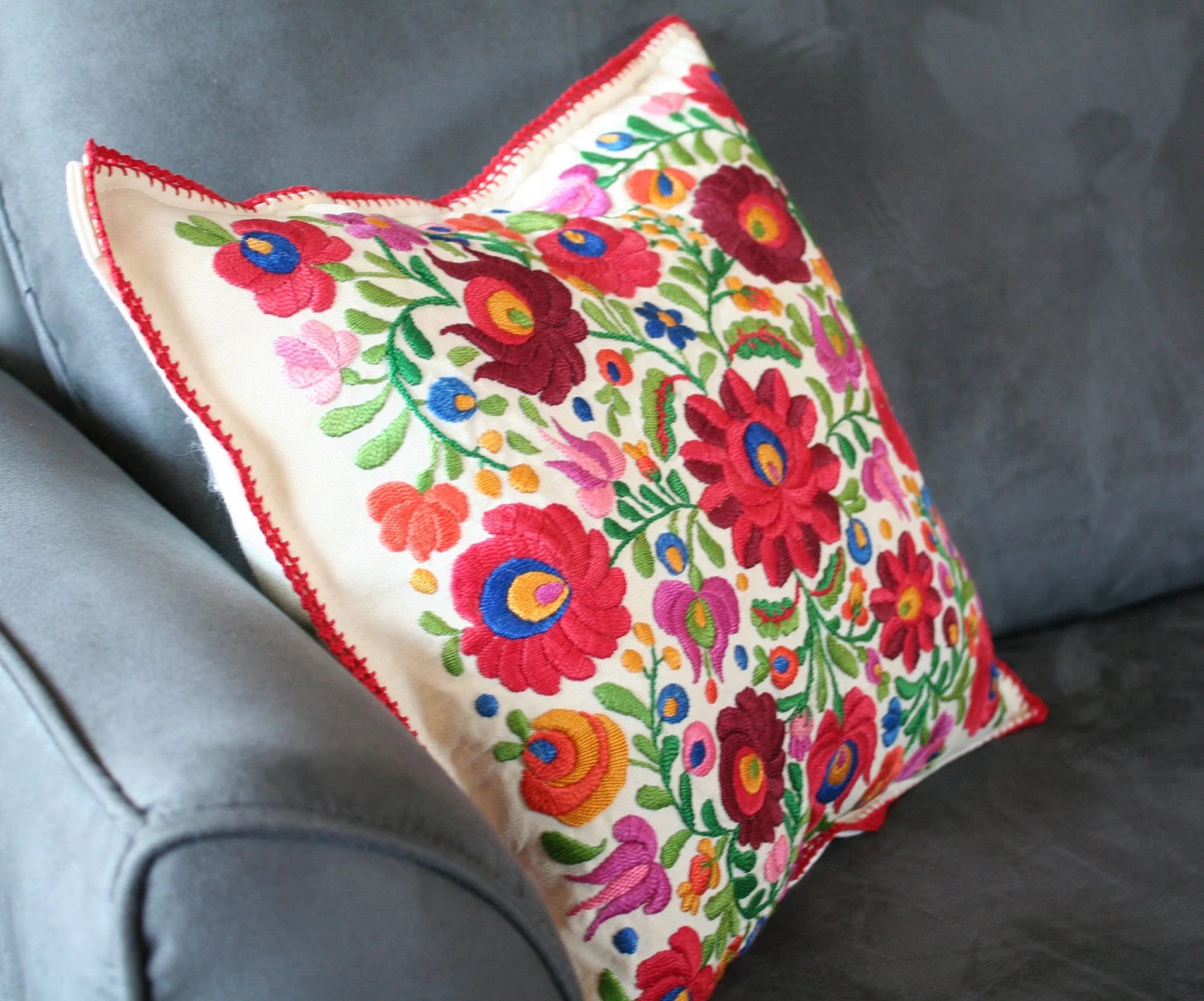 Best Mexican Hand Embroidered Pillow Cover By Vintagefoundnyc This Month