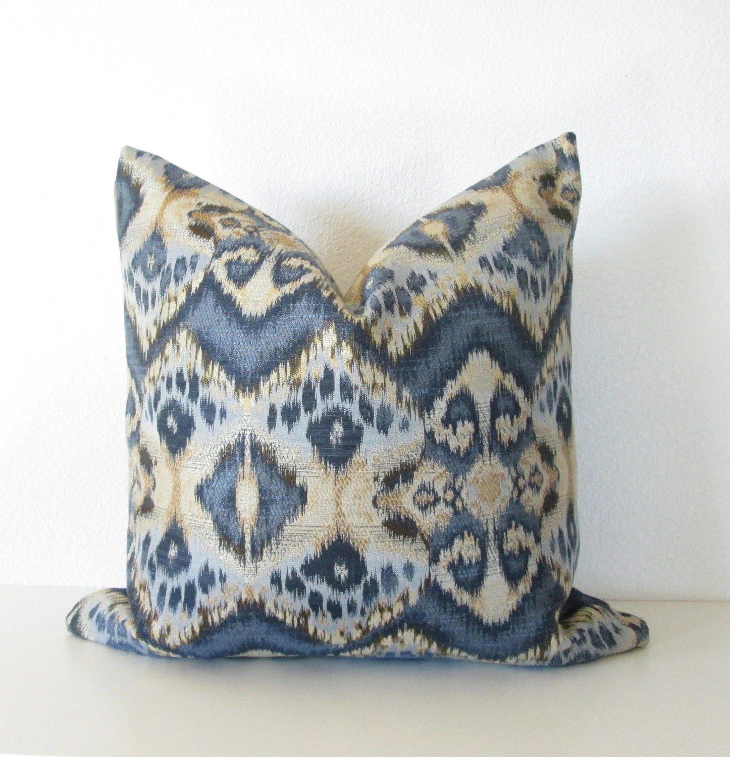 Best Decorative Pillow Cover Ikat 24X24 Indigo Blue Gold This Month