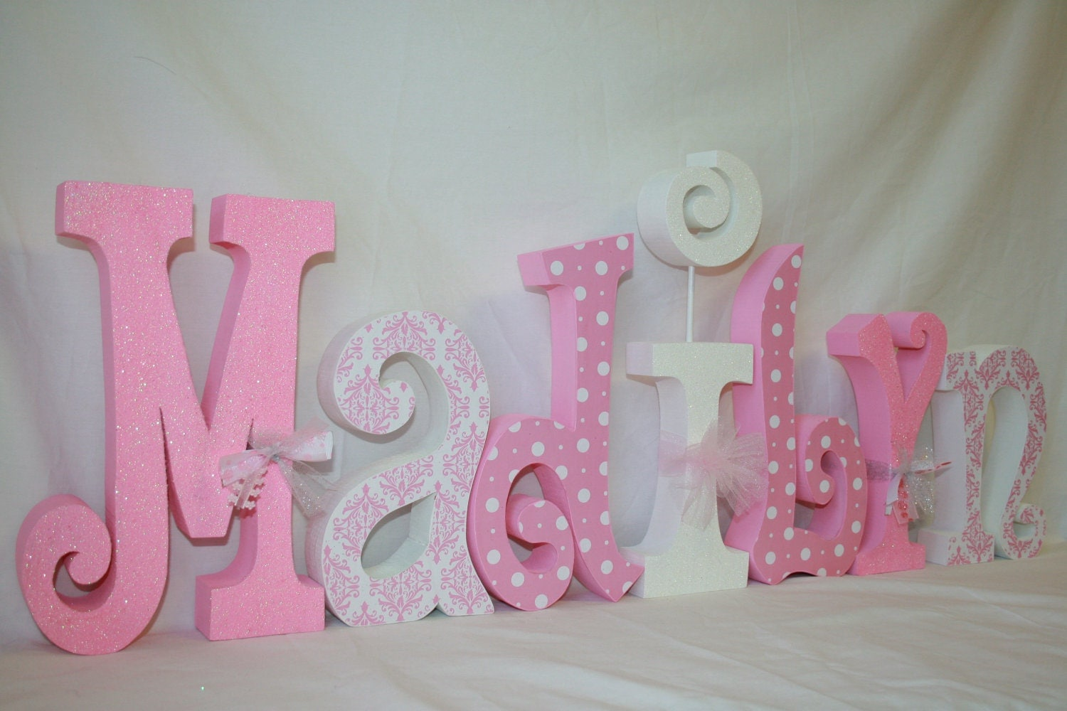 Best Girl Decor Pink And White White Polka Dots 7 Letter Set This Month