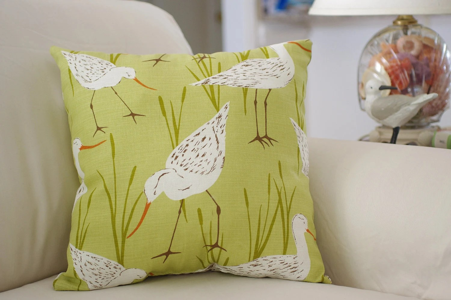 Best Beach Decor Sandpiper Throw Pillow Green This Month