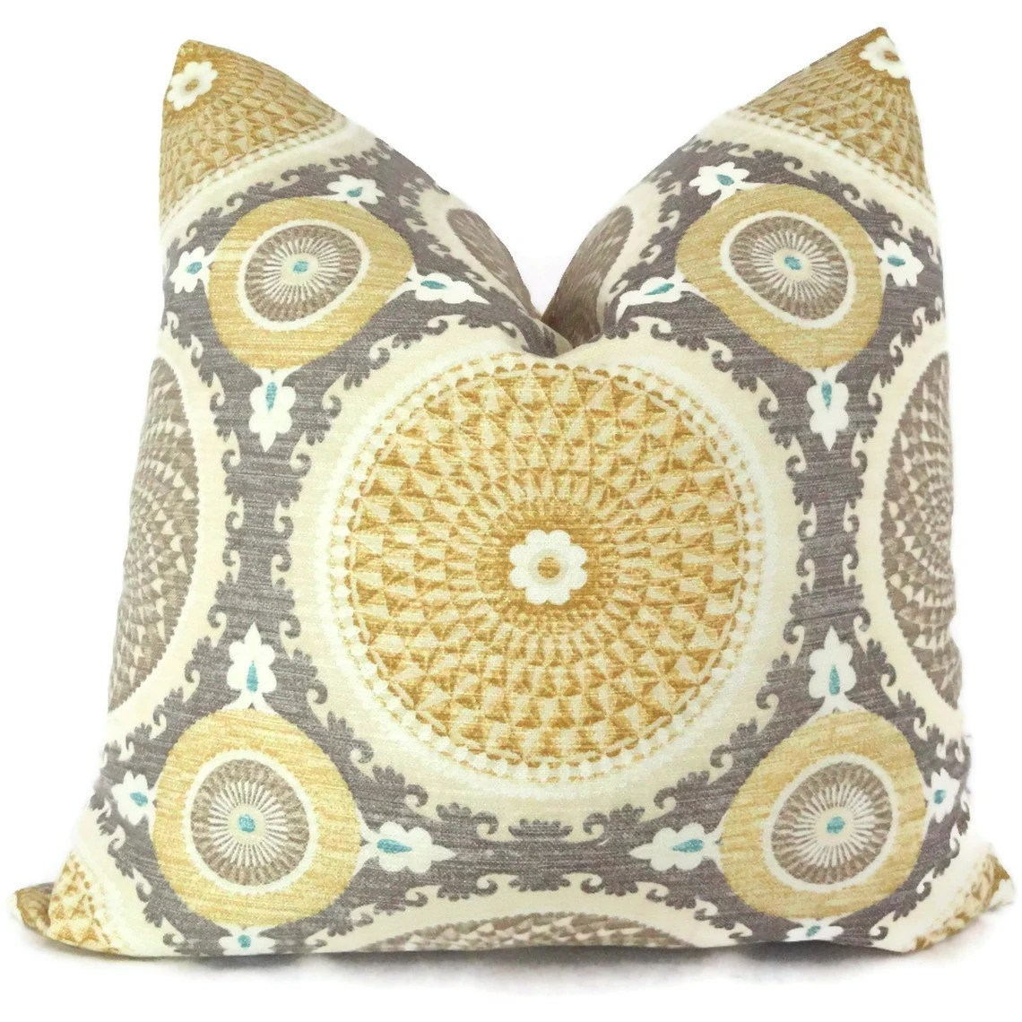 Best Yellow And Gray Suzani Decorative Pillow Cover 18X18 20X20 This Month