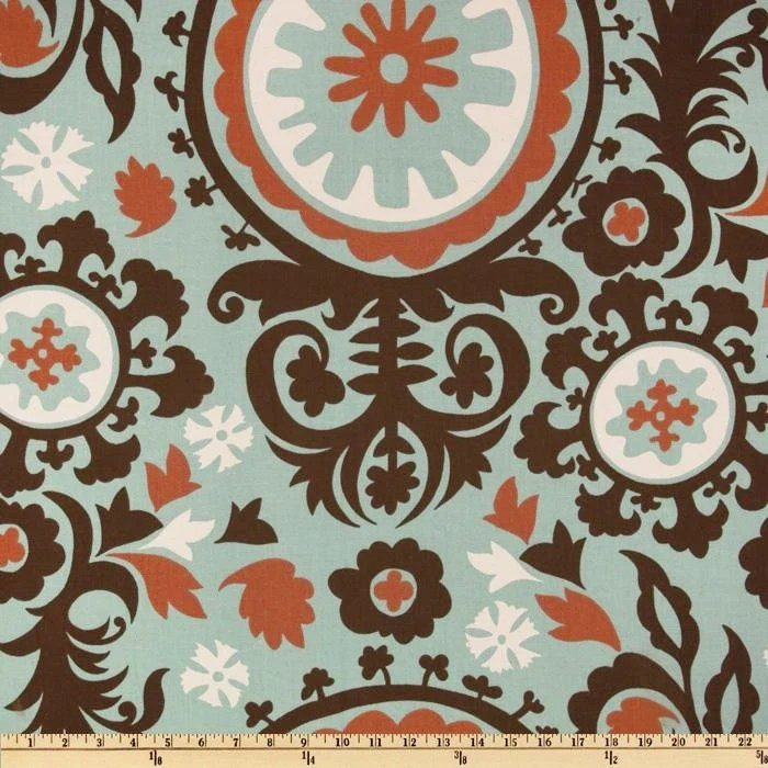 Best Fabric Suzani Blue Brown Rust Natural Premier Prints This Month