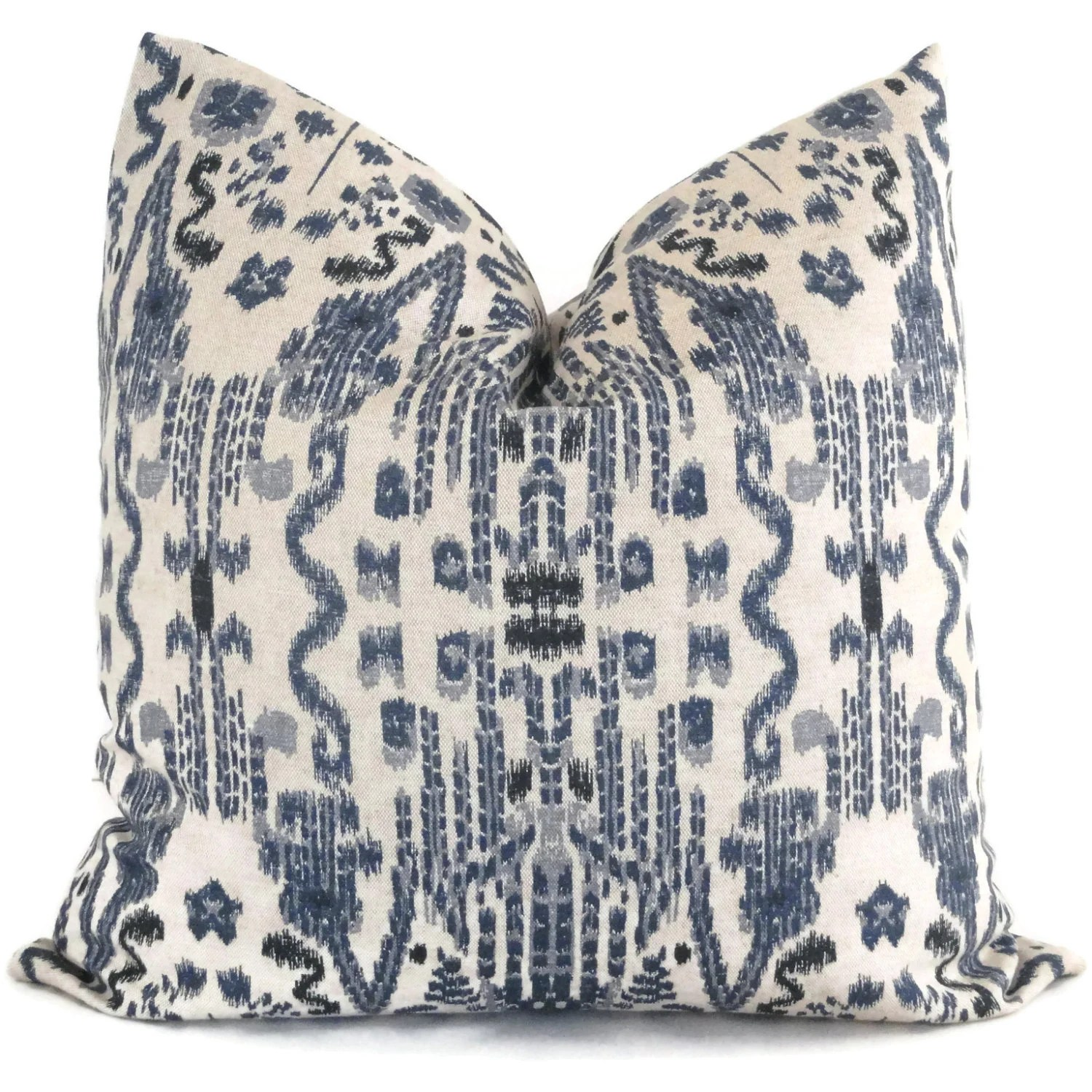 Best Indigo Blue Ikat Decorative Pillow Cover 18X18 20X20 22X22 This Month