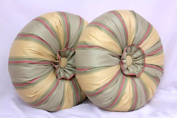 Best Round Throw Pillow In Gold Red Green Stripe This Month