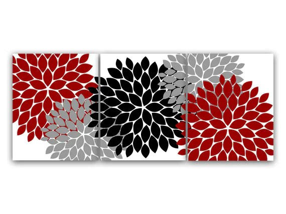Best Home Decor Wall Art Red Gray Flower Burst Art Canvas This Month