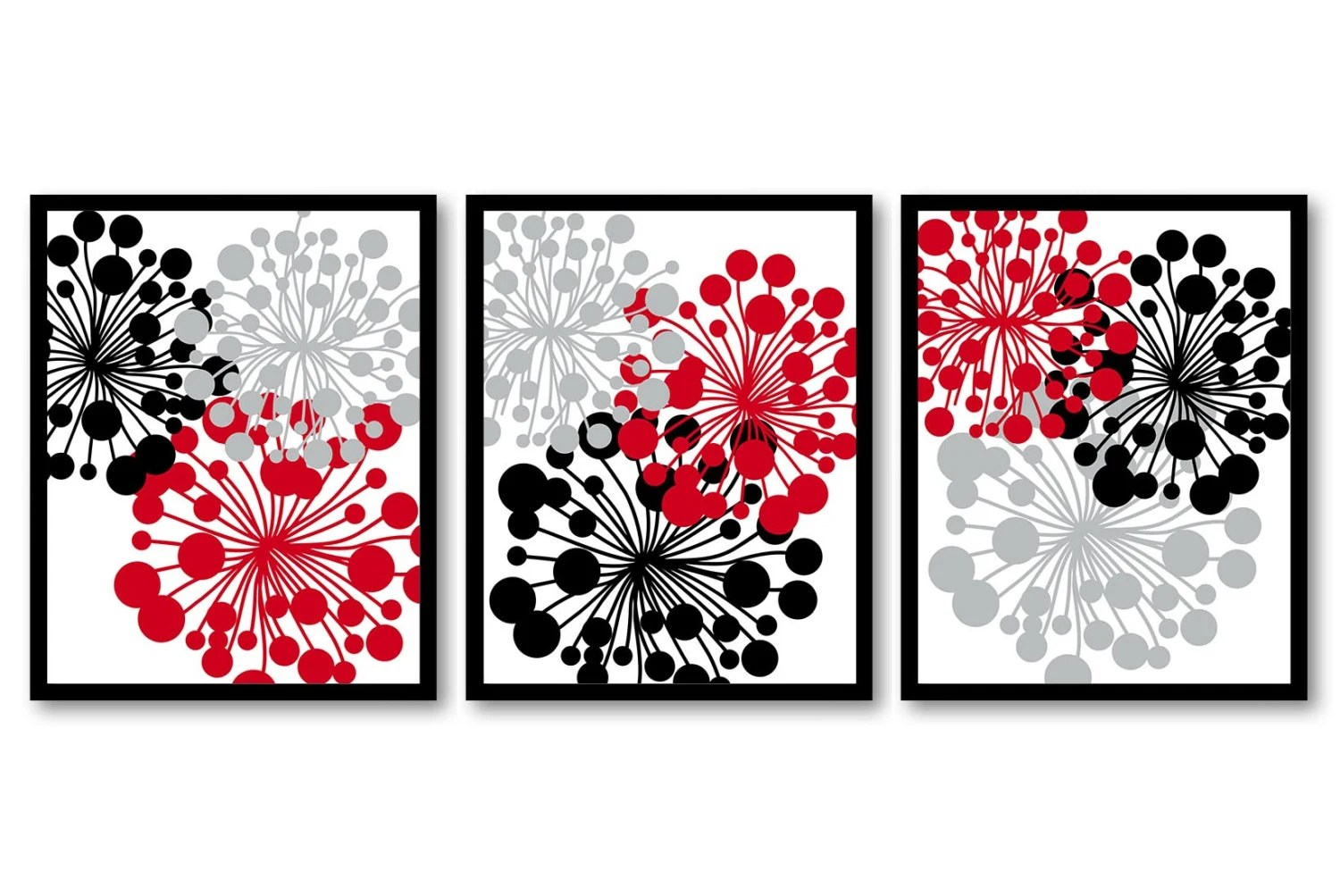 Best Red Black Grey Dandelion Setof 3 Art Printable Abstract Art This Month