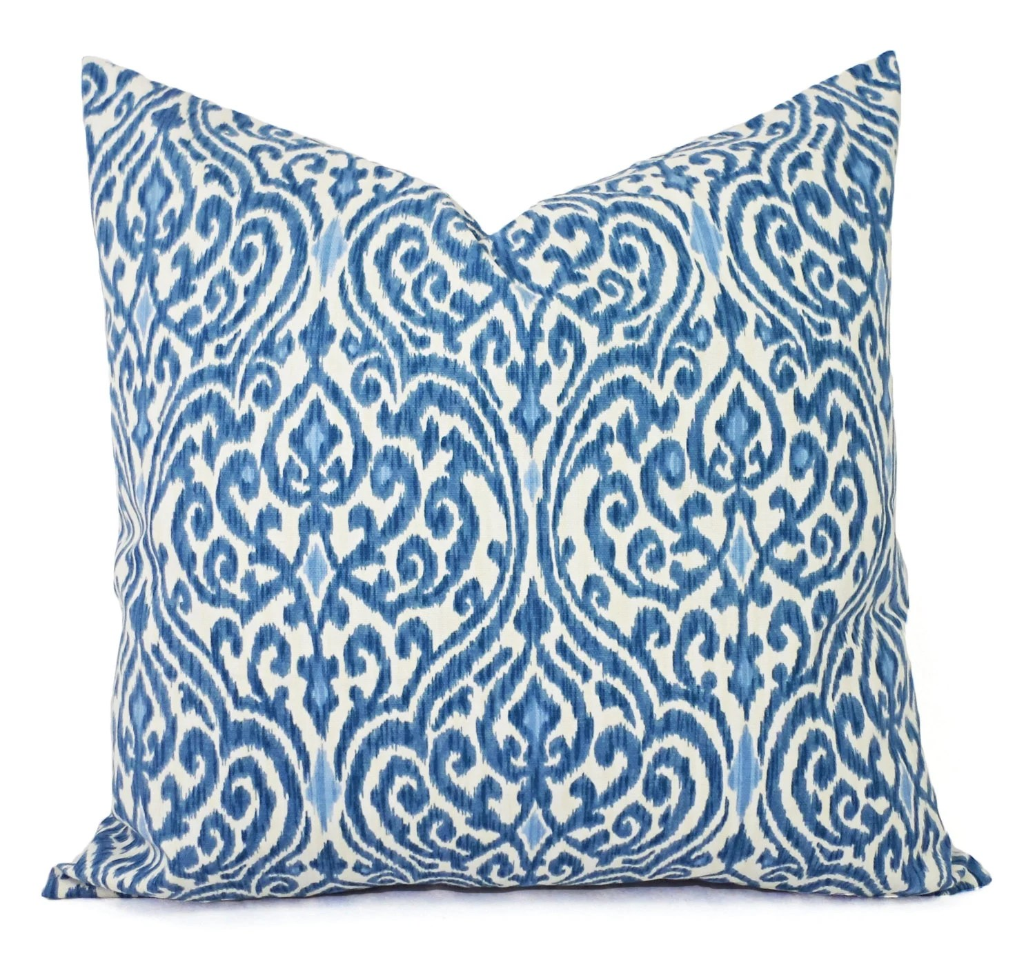 Best Two Decorative Throw Pillow Covers Blue And Beige Ikat This Month
