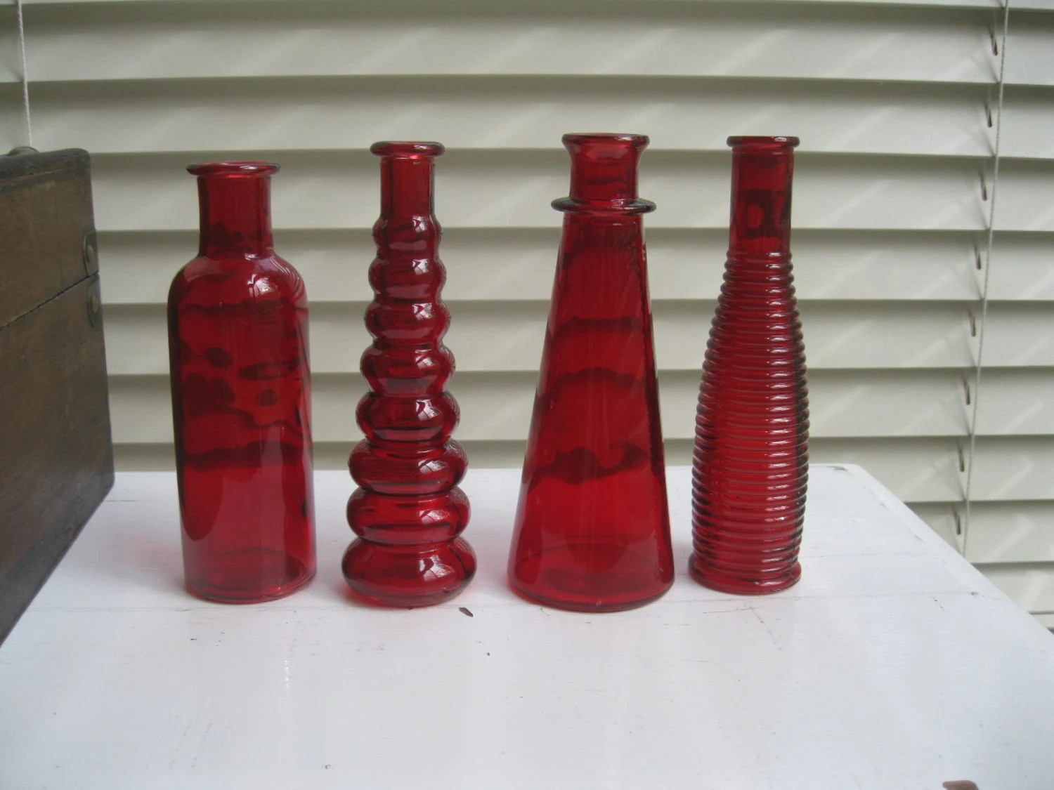 Best Items Similar To Red Decorative Colored Glass Bottles This Month