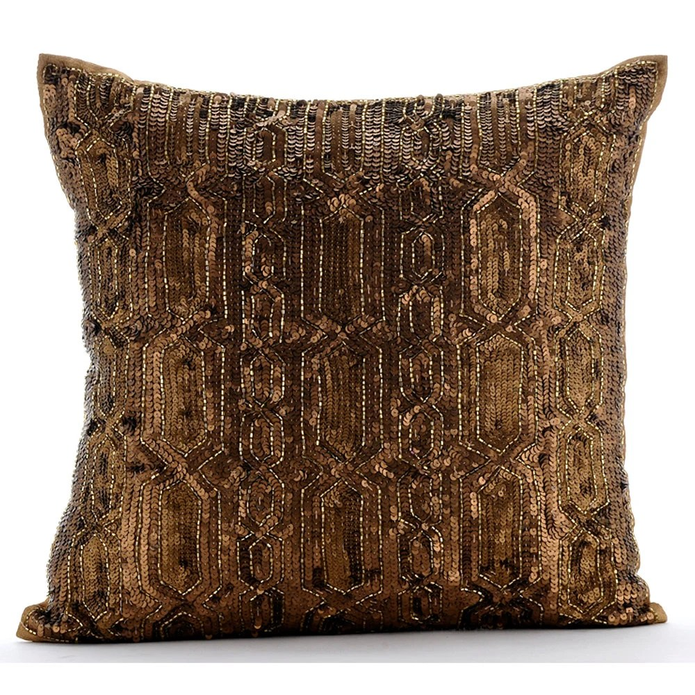 Best Gold Decorative Pillow Cover 16X16 Silk Pillows This Month