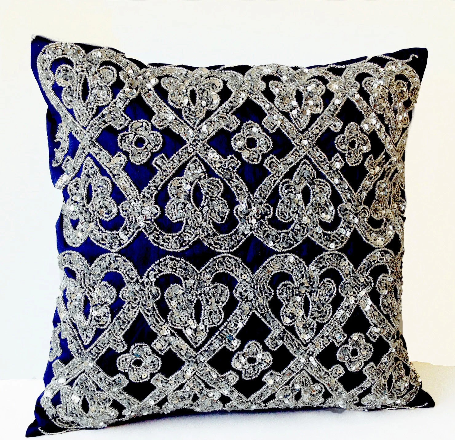 Best Navy Blue Geometric Throw Pillows Beaded Silver Bead Pillow This Month