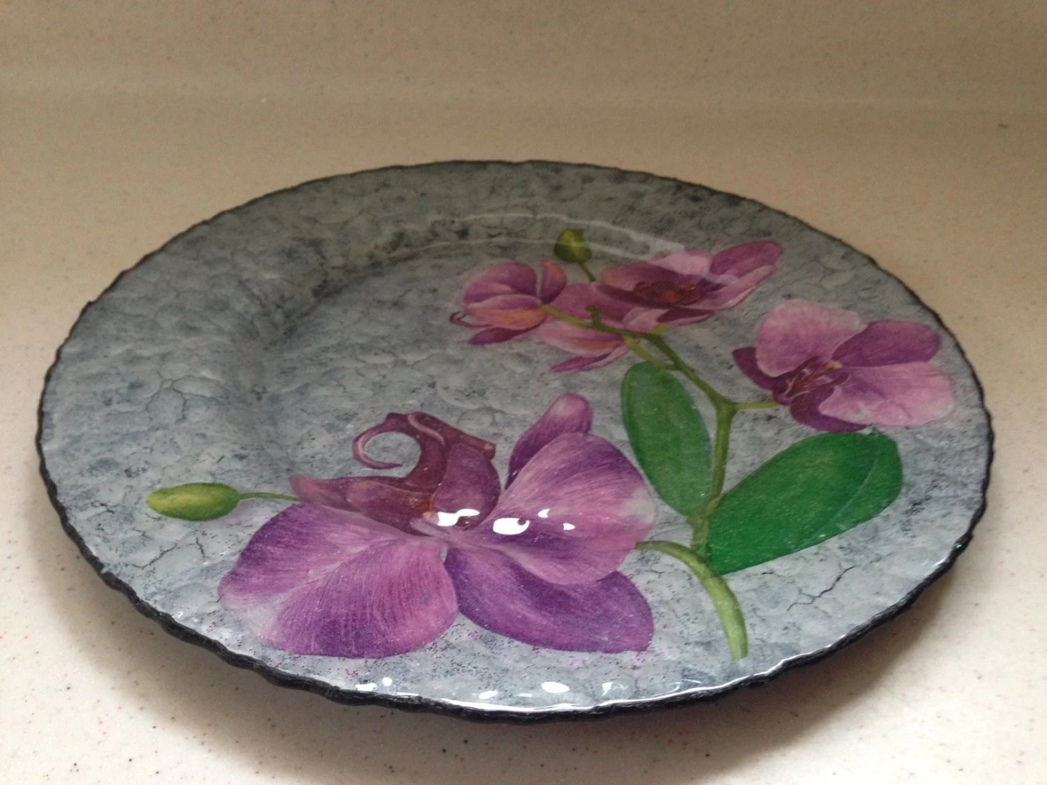 Best Decorative Glass Plate Flowers Of Orchids Home Decor By This Month