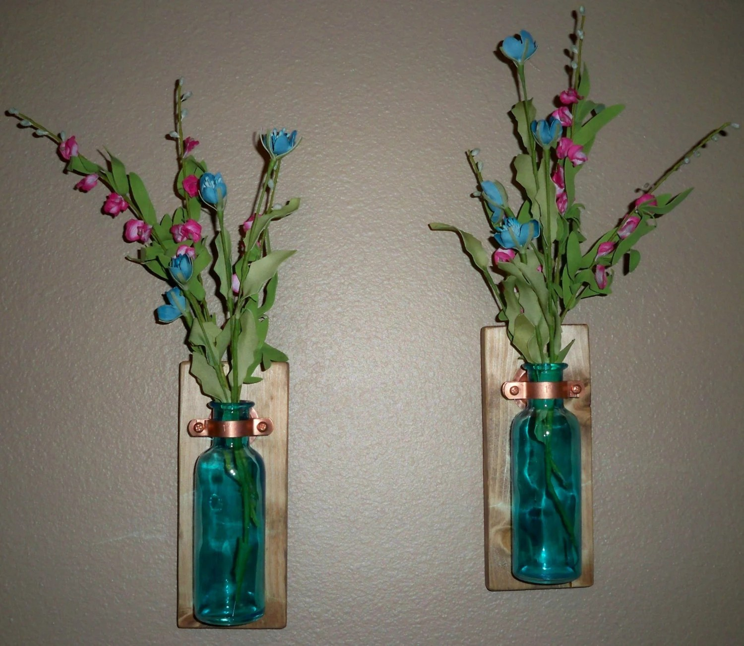 Best Colored Glass Bottle Rustic Wall Decor Kitchen Decor This Month