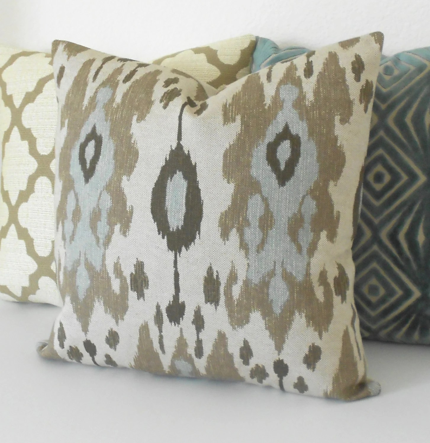 Best Ikat Decorative Pillow Cover Light Blue Brown And Grey This Month