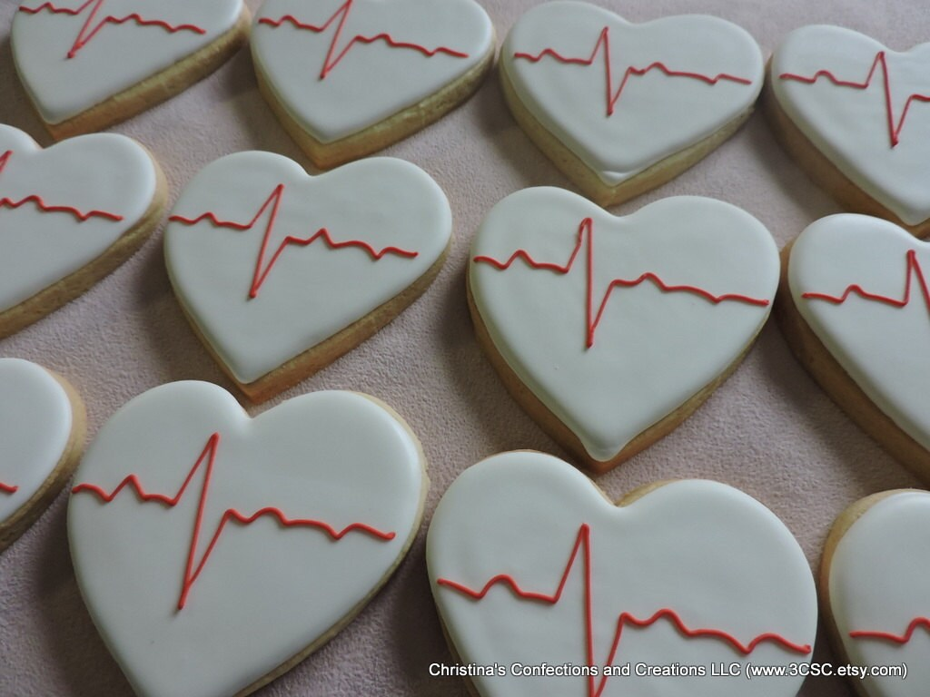 Best Ecg Ekg Heartbeat Hand Decorated Sugar Cookies 2378 This Month