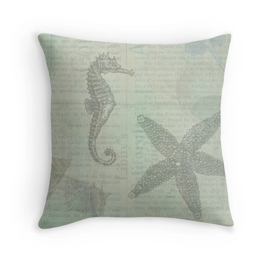 Best Beach Decor Beach Cushion Shell Throw Pillow Ocean Decor This Month
