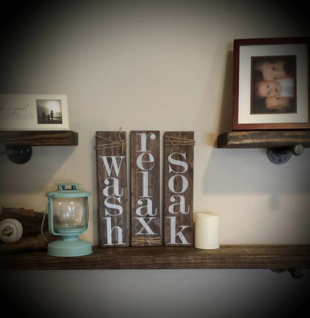 Best Wash Relax Soak Set Of 3 Rustic Bathroom Decor Pallet This Month