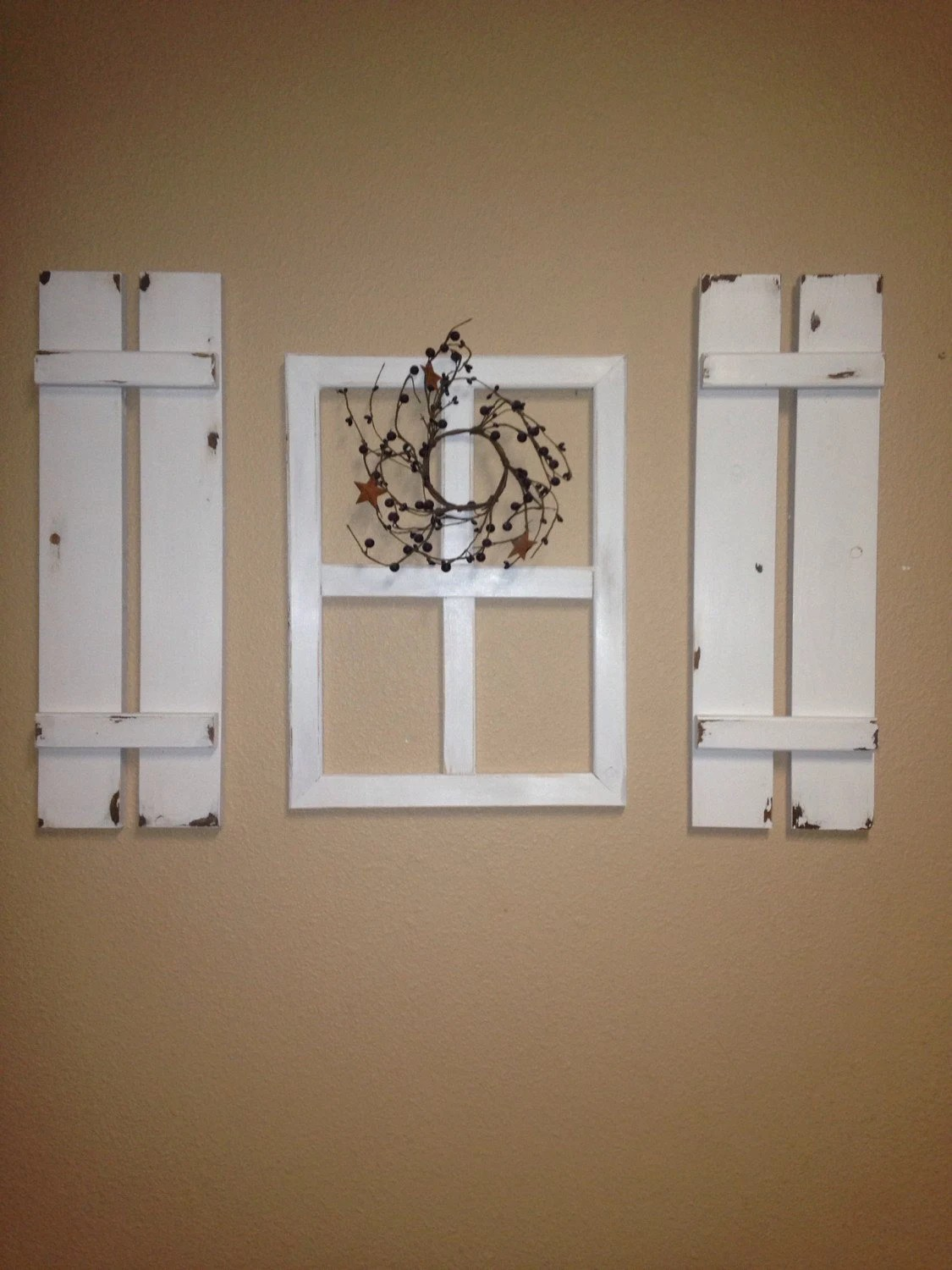 Best Three Peice Set Faux Window And Wood Shutter Set Wall Decor This Month