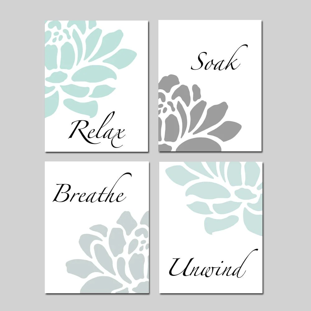 Best Relax Soak Unwind Bathroom Decor Wall Art Set Of 4 Prints This Month
