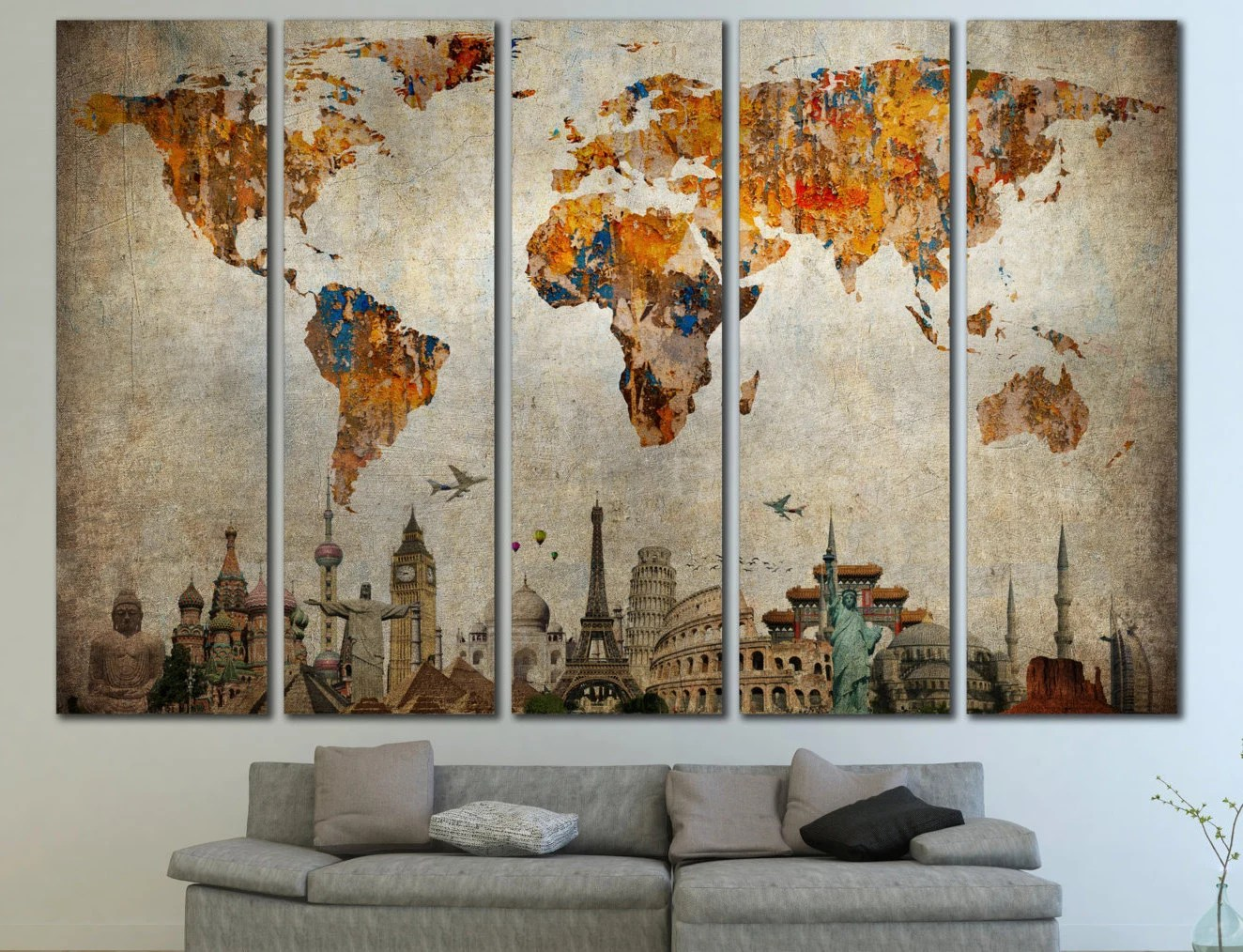 Best Large World Map Panels Poster Decor Canvas World Map Print This Month