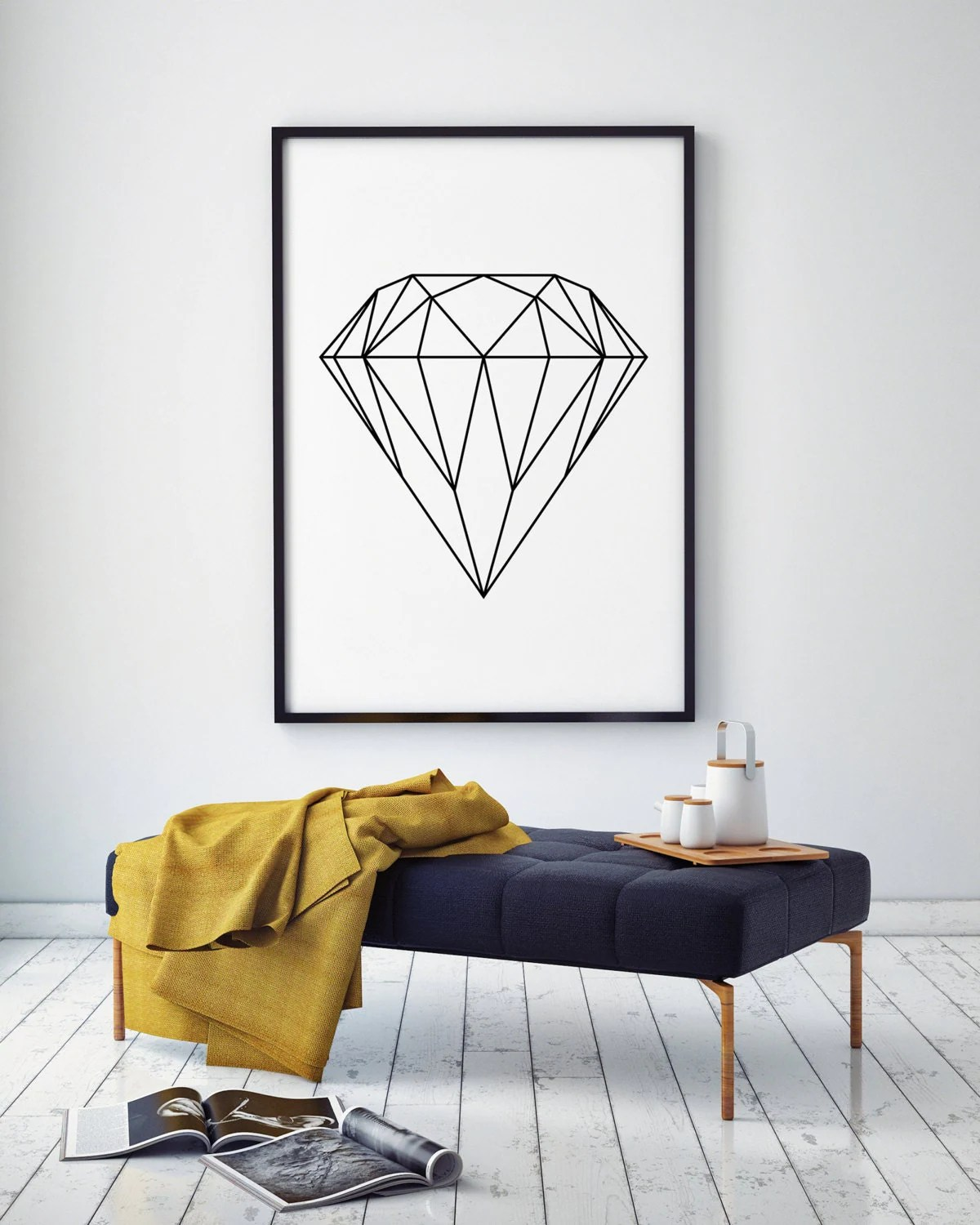 Best Diamond Wall Art Geometric Print Home Decor Printable This Month