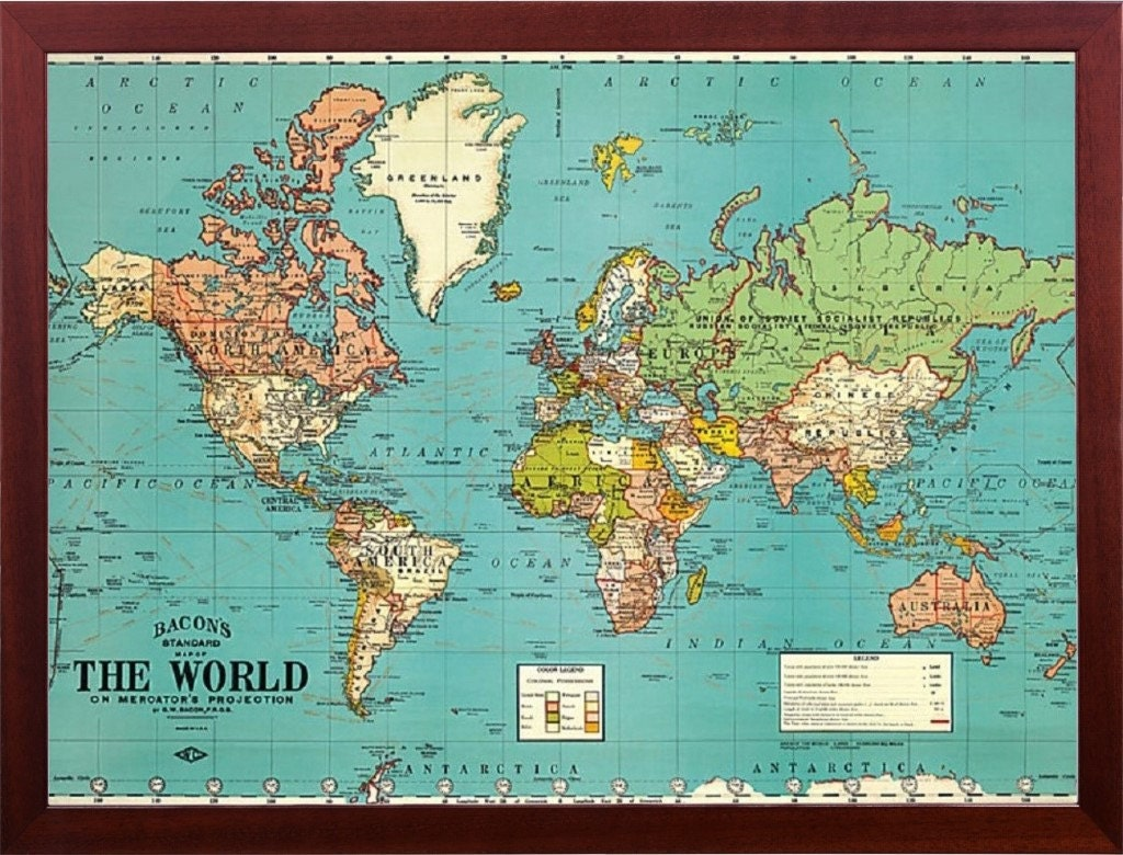 Best Framed World Map Vintage Parchment Decorative Walnut Finish This Month
