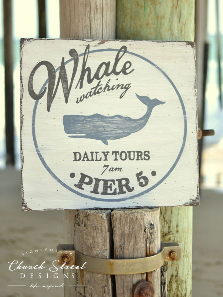 Best Beach Wall Art Beach House Decor Whale Watching Sign This Month