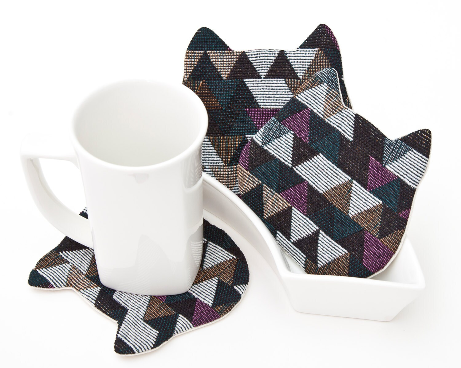 Best Cat Coasters For Cups Geometric Decorative Coasters Multi This Month
