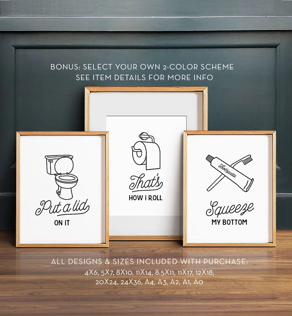 Best Funny Wall Art Bathroom Art Printable Art Set Of 3 This Month