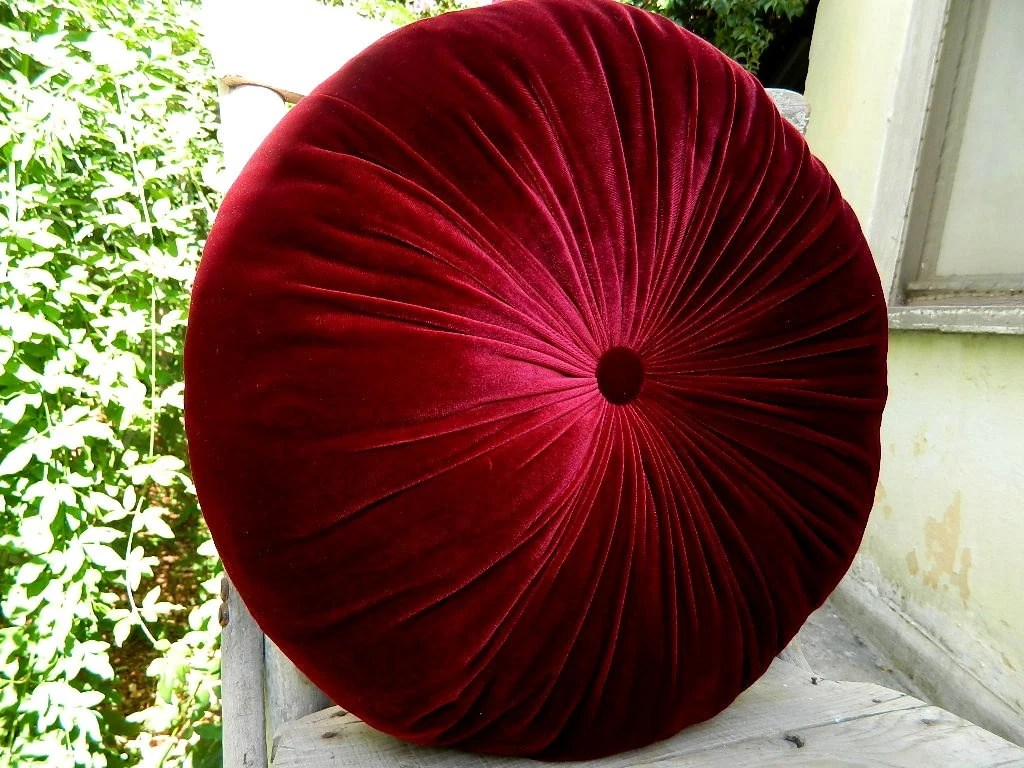 Best The Color Of Red Wine Silk Velvet Round Pillow By This Month