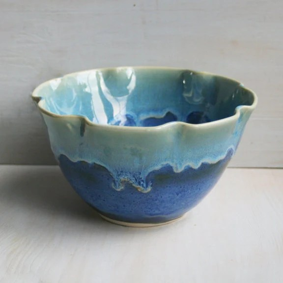 Best Decorative Blue Serving Bowl With Ruffled Edges Handmade This Month