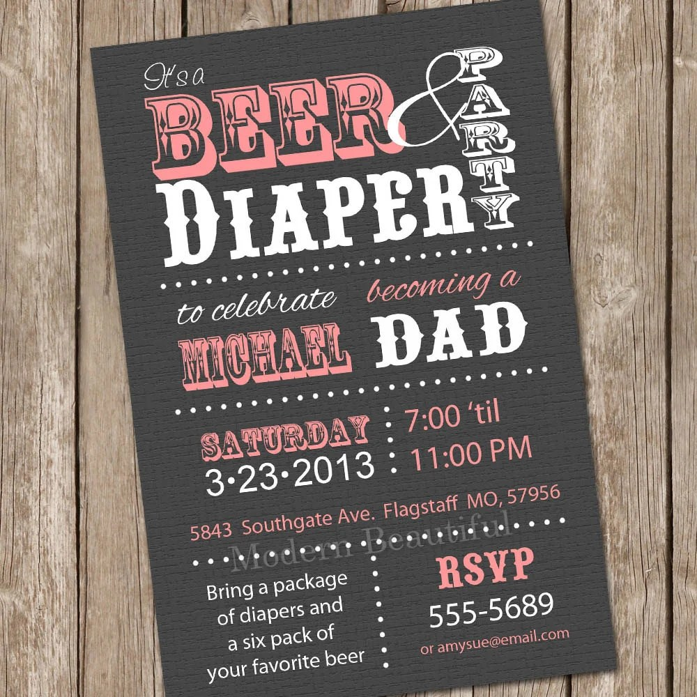 Best Beer And Diaper Baby Shower Invitation Grey And Pink Beer And This Month