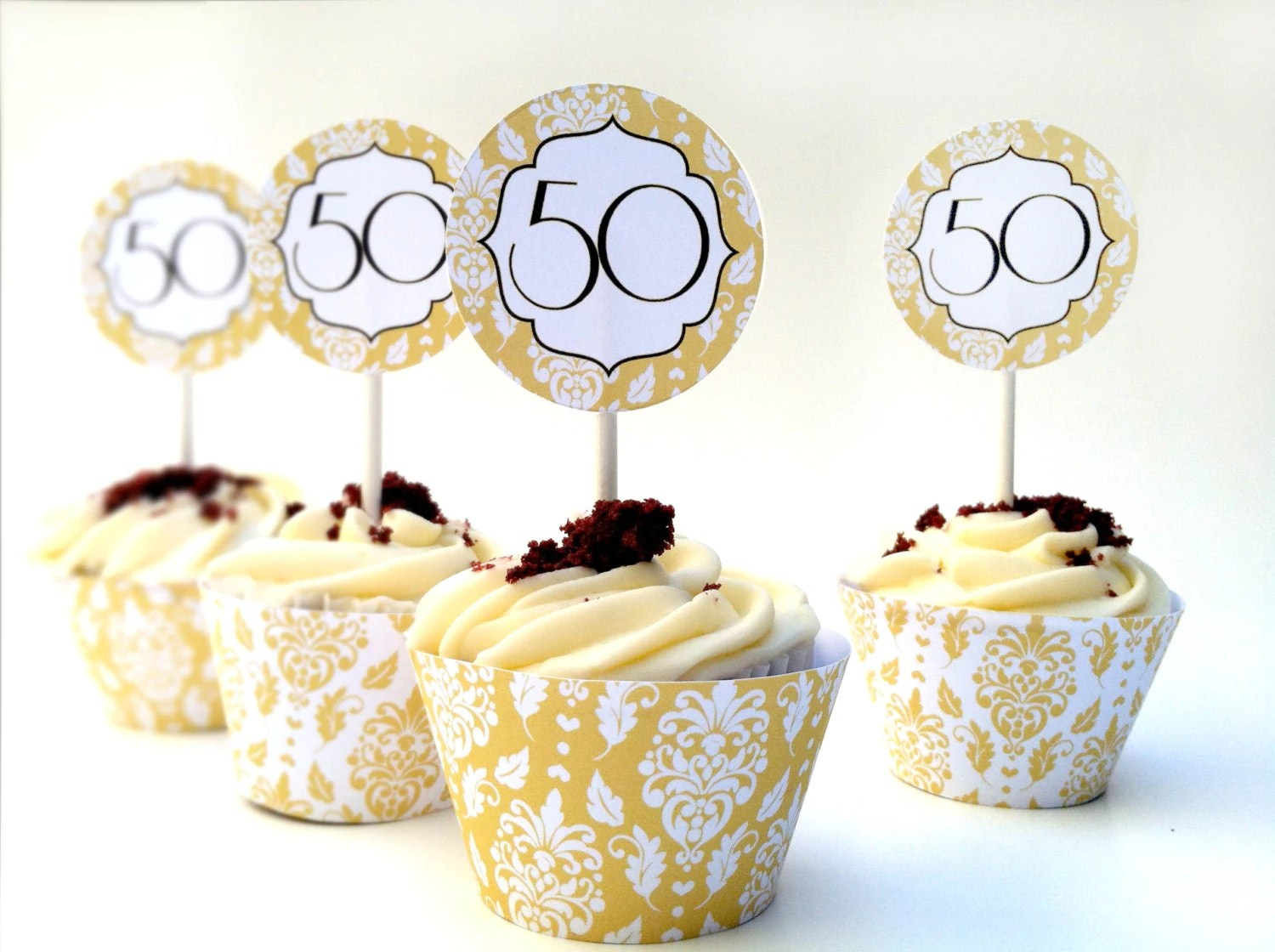 Best Instant Download 50Th Anniversary Diy Cupcake Decorations This Month