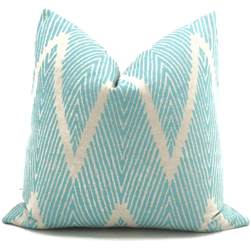 Best Aqua And Gray Ikat Chevron Decorative Pillow Cover 12X20 This Month