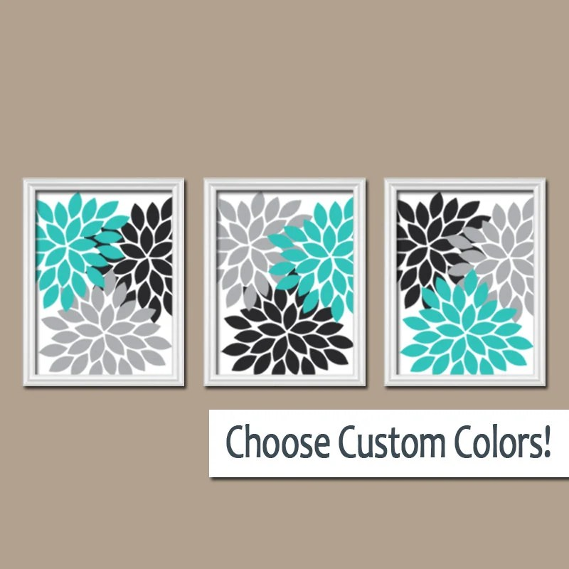 Best Turquoise Black Gray Wall Art Bedroom Canvas Or Prints This Month