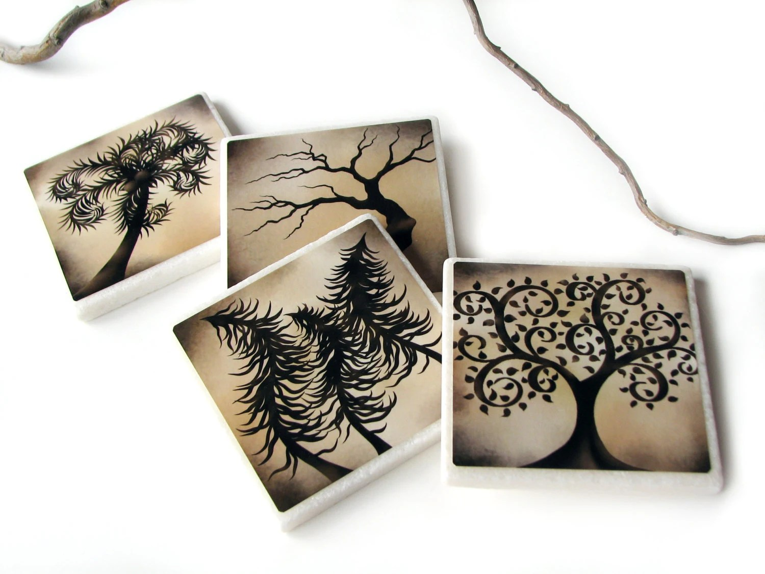 Best Earthy Brown Enchanted Tree Decorative Tile Drink Coasters This Month