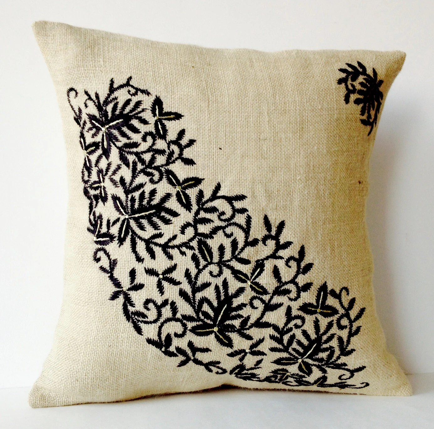 Best Ivory Burlap Throw Pillows Embroidered Pillow By Amorebeaute This Month